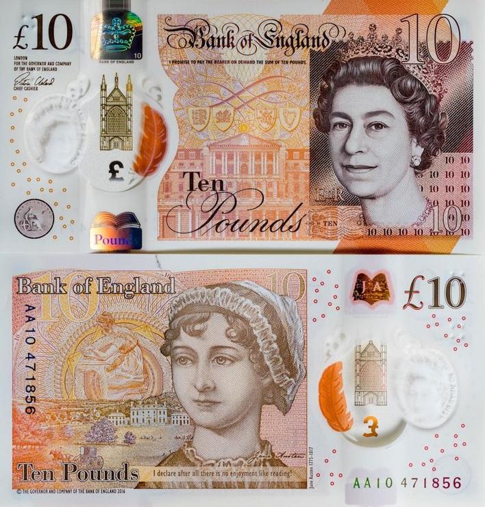 Nowy polimerowy banknot 10 funtów (GBP)