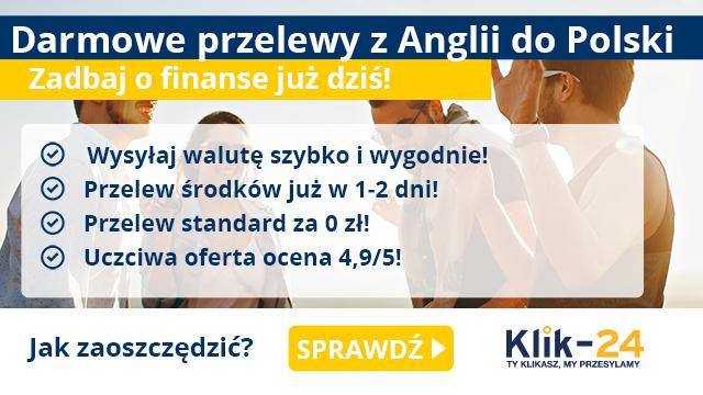 Darmowe przelewy z Anglii do Polski